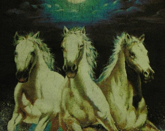 White Stallion Galloping Horses Vintage TShirt Size Medium 100% Cotton Tee Made in the USA Indie Hipster Style