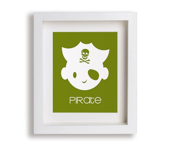 Pirate Nursery Art Print - Nursery Decor, Nautical Nursery, Kids Room Decor, Kids Art, Baby Shower Gift Idea, Playroom Decor, Boys Room