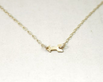 Arrow necklace - tiny sideways gold arrow - delicate simple jewelry