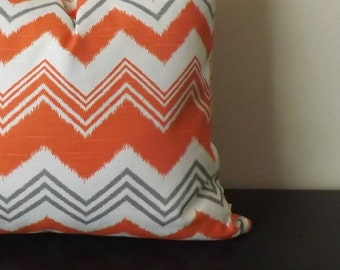Decorative Throw Pillow, Ikat Orange Chevron Designer Pillow, 18x18, 20x20, Ikat Pillow,Toss Pillow,Accent Pillow, Sofa Pillow