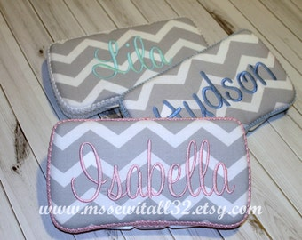Custom Gray Chevron / Zig Zag Personalized Diaper Wipes Case (You Pick Accent Color)