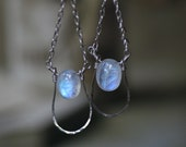 Rainbow Moonstone Earrings Hand Hammered Silver Custom Hand Made Original Unique