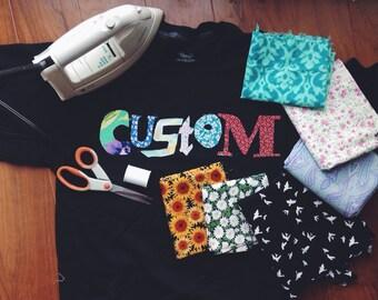 SALE Custom lyric/phrase crewneck - Choose your color fabric!