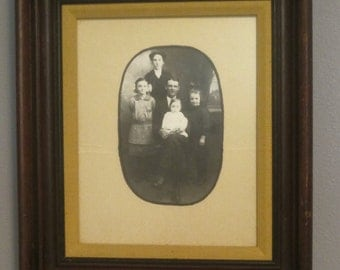 Vintage 8x10 Family Portrait in Old Wood Frame, Old Photo, Family Gathering