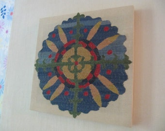 New Suzani Picture Uzbek Silk Hand Embroidery Wall Hanging Rosette Square