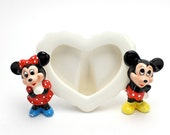 Vintage Mickey Mouse Photo Frame, Ceramic Heart Frame, 1960s, Disney, Mickey and Minnie Mouse, Valentine, Epsteam
