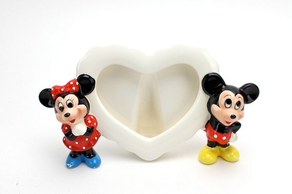 Vintage Mickey Mouse Photo Frame Ceramic Heart Frame 1960s