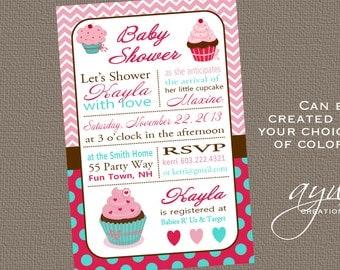 Cupcake Baby Shower Invitation Girl Invitation Cupcake Shower Invitation Chevron Invitations Printable Baby Shower Invitations Cupcake