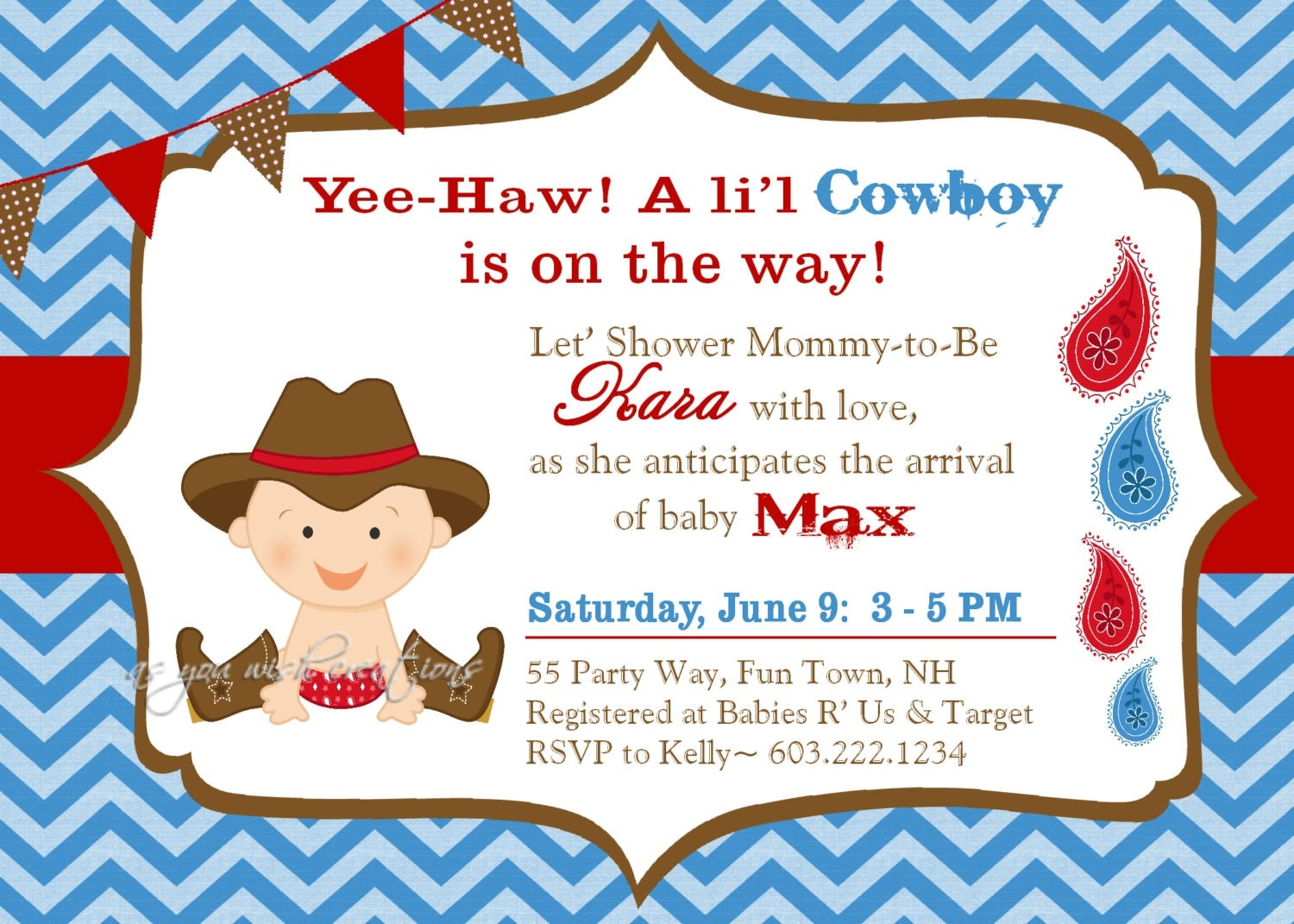 cowboy baby shower invitation boy invitation cowboy shower