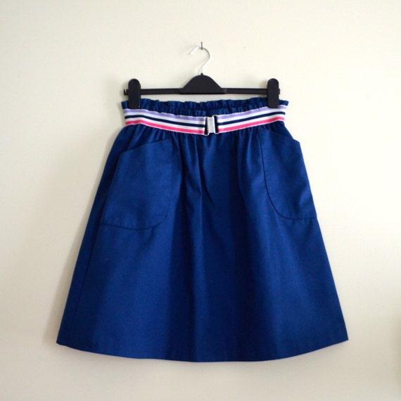 Vintage Navy Pastel Striped Hunter's Glen A line Skirt // Hipster // Festival // Preppy  - 1980s