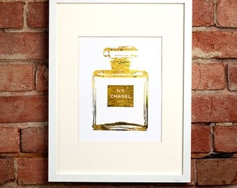 Gold Chanel No. 5 Perfume Bottle
