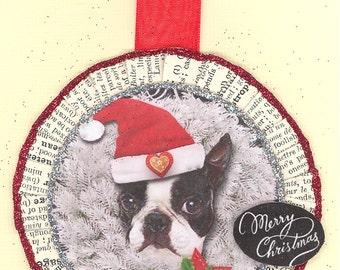 Boston Terrier | Christmas Ornament | Vintage style | Dog ornament | Boston terrier ornament