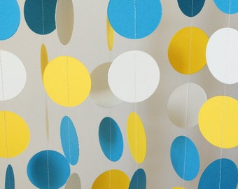 Blue, Yellow & White Garland, Nautical Party, Graduation Decoration, Circle Paper Garland, Father's Day, Nursery, Boy's Birthday