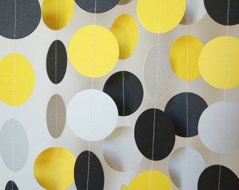 Yellow, Gray & Black Circle Paper Garland, Wedding, Bridal Shower, Bumble Bee Birthday, Baby Shower, Nursery, 10 feet long