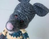 Mini artist bear - Rodney the Rat, thread crochet art doll