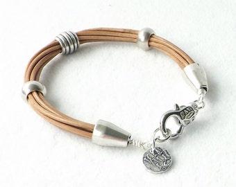 Natural Leather Bracelet, Sundance Style, Minimalist Bracelet, Stacking Bracelet, Southwestern Jewelry, Modern Jewelry, Multistrand, Boho