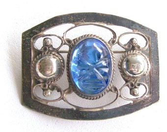 Brooch Sterling Carved Blue Face Mexico Vintage