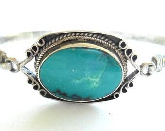Vintage Bracelet Turquoise Sterling Latch Style