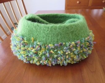 Hand knit and felted green handbag