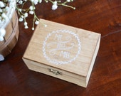 Laurel Wreath Mr and Mrs Ring Bearer Box by Burlap and Linen Co