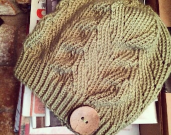 Hand Knitted Shabby Chic Leaf Knit Adult Beanie