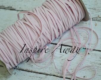 Baby Pink Skinny elastic, 1/8 inch elastic, 5 yards or 10 yards - Elastic by the yard - Thin Elastic - DIY Headbands, foe elastic, supply