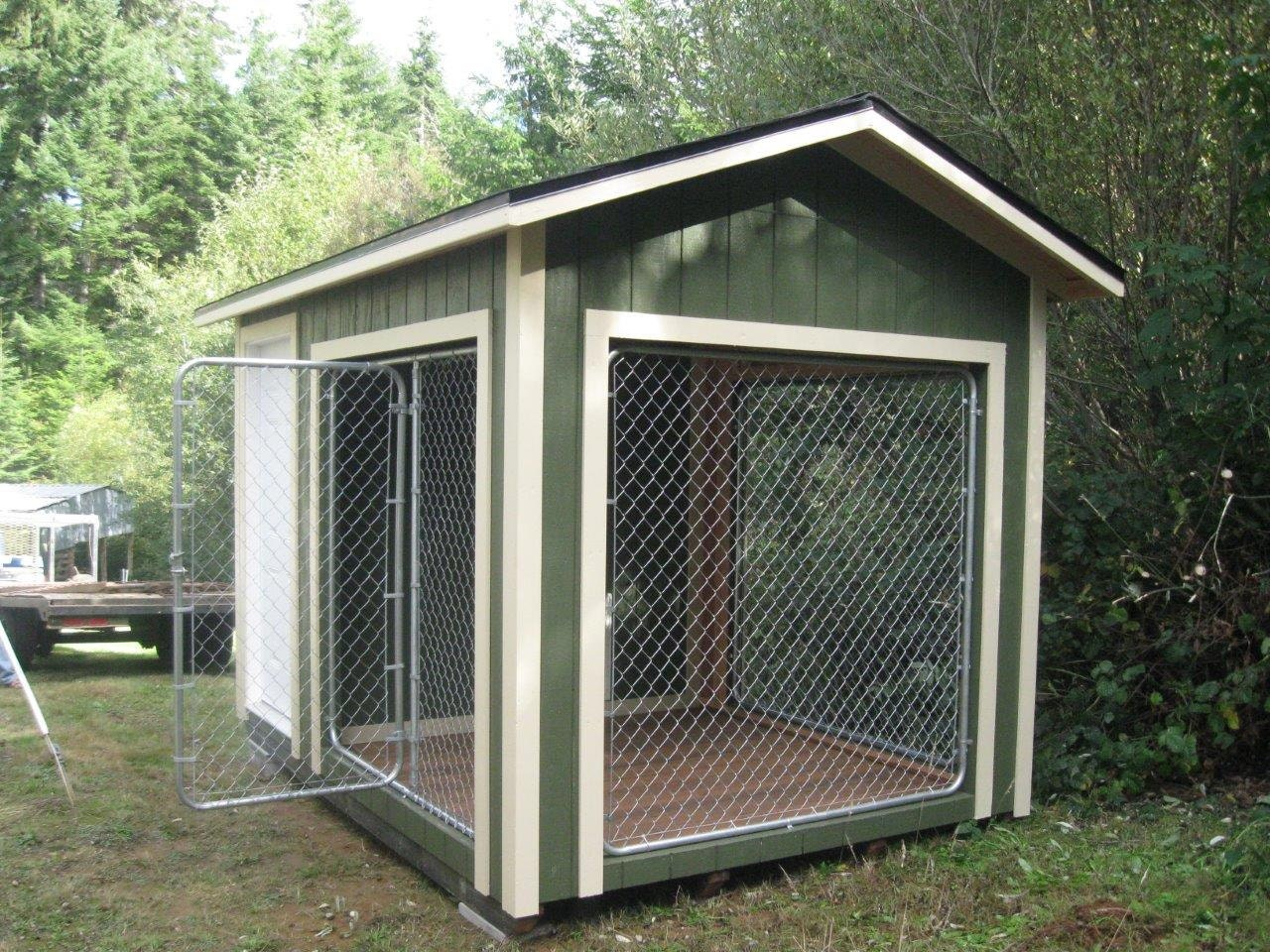 8x12 k9 kennel with 4x8 dog house and 8x8 kennel built to for Puppy dog kennels