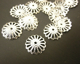 50 pieces of 14mm silver finish  filigree bead caps-8858