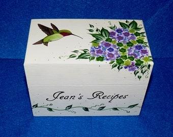 Hand Painted Recipe Box Wooden Recipe Card Holder Organizer Hummingbird Wedding Recipe Box 4x6 Personalized Hydrangea Kitchen Wedding Gift