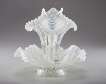 Fenton Glass Epergne in Snow White Diamond Lace Hobnail Pattern, Elegant Snow White Elegance