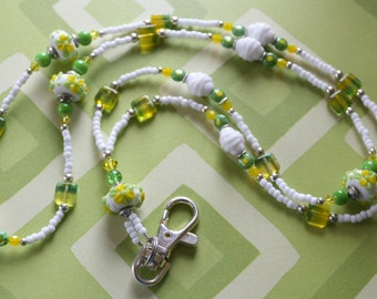 O O A K - Lampwork Glass Beaded Lanyard ID Badge Holder  - TWIST of Lemon-Lime - G129