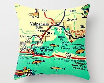 Destin Map Pillow Cover, Destin Throw Pillow, Decorative Throw Pillow, Ft Walton Beach House Destin Throw Pillow, Vintage Florida Gifts