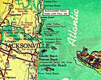 Jacksonville Florida Map, Jacksonville Beach Art, Old Florida Map Art, Hostess Gift, Beach Decor, Vintage Map, Beach House Art Gifts for Him