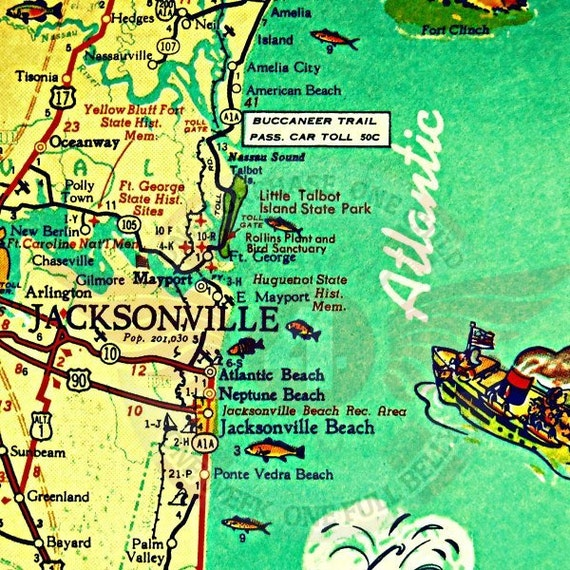 Jacksonville Florida Map, Jacksonville Beach Art, Old Florida Map Art, Hostess Gift, Beach Decor, Vintage Map, Beach House Art Gifts for Him