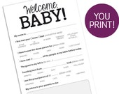 PARENTING ADVICE CARD — Funny Baby Shower Guest / Parent Advice Card, Game, Instant Download, Printable pdf