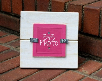 Picture Frame - Distressed Wood - Holds a 3x3 Photo - White & Hot Pink