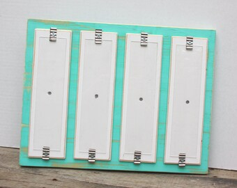 "Photo Booth Picture Frame - Distressed Wood - Holds 4 - 2"" x 8.5"" Photo Strips - Seafoam & White"
