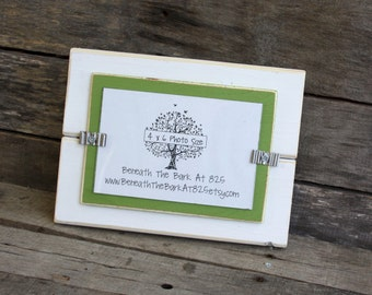 Picture Frame - Distressed Wood - Holds a 4x6 Photo - White & Asparagus Green