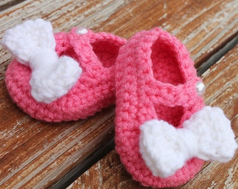 Crocheted Mary jane's with Bow- Made to Order- Any Size