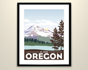 Mt. Hood Oregon Wedding Landscape Vintage Travel Poster 11x14 - Can personalize with Names and date (frame not included)