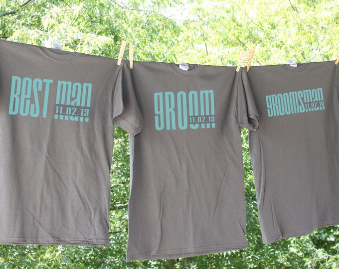 Groomsman Shirt Set - Groom, Best Man, Groomsman, etc. Set of 7 // Men's Classic Droid with Optional Date