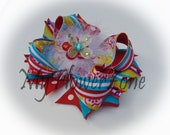 Stacked Hair Bows - Stacked Boutique Hairbows - Polka dots and Stripes Hair bow - Floral Hair Bow - OTT hairbows - OTT hair bows - accessory