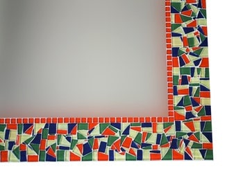 Colorful Mosaic Mirror // Large Wall Mirror // Red Green Yellow Home Decor