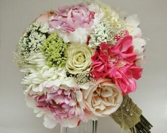 Silk Bride Bouquet Peonies Roses Rustic Chic Wedding Shabby Chic Bride Bouquet Pink Cream Spring Bouquet Garden Bouquet