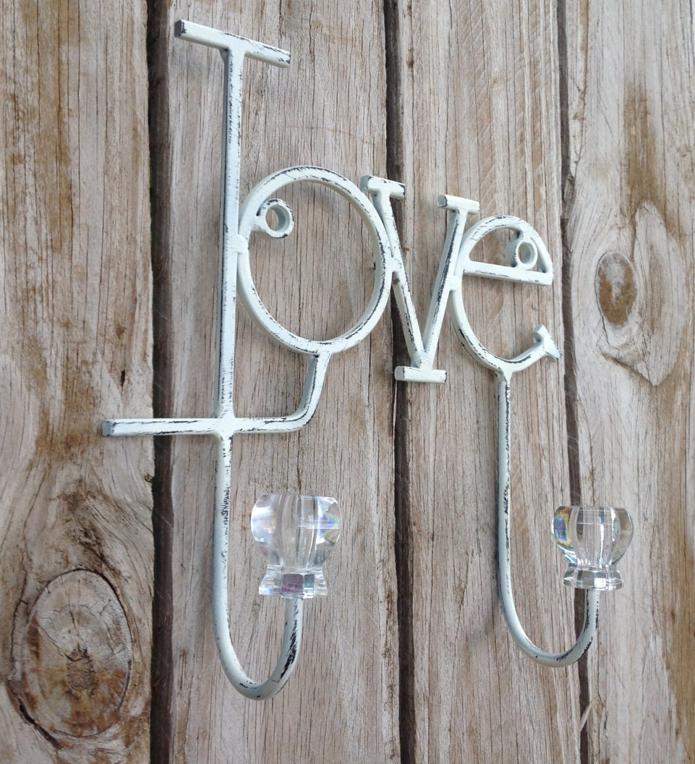 shabby chic love wall hooks jewelry hooks girls room. Black Bedroom Furniture Sets. Home Design Ideas