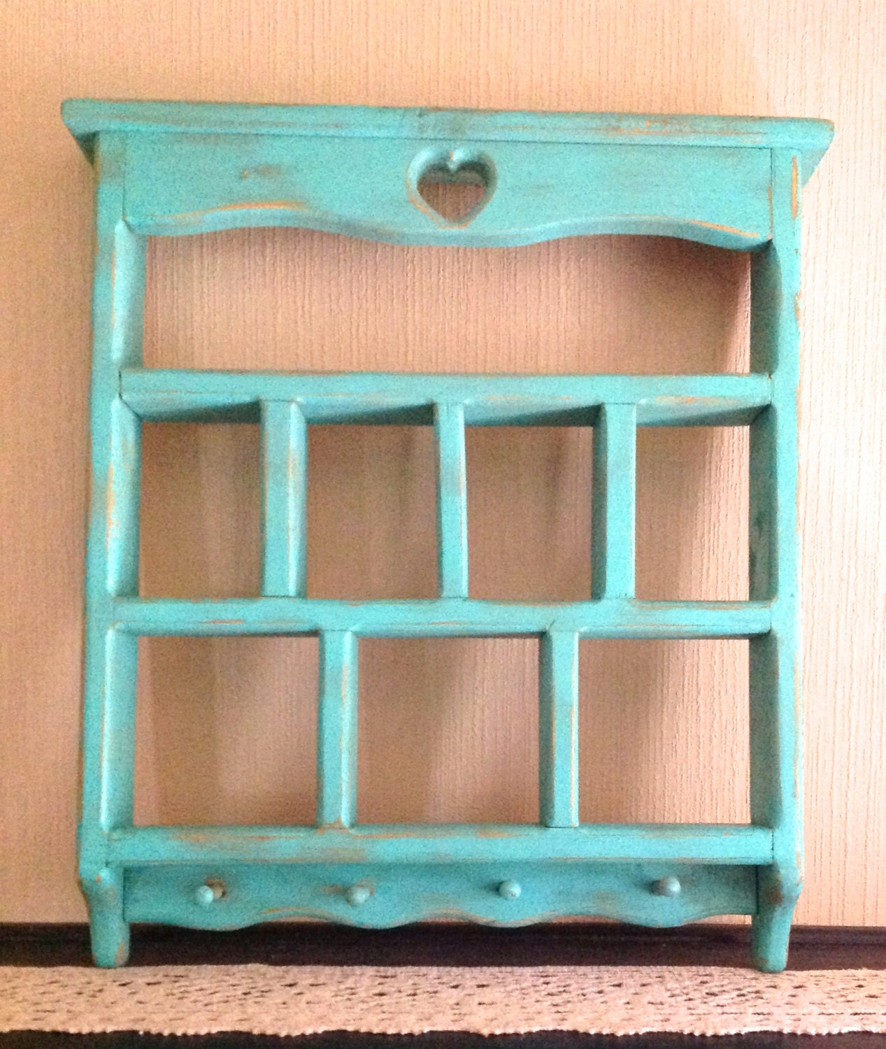 Marvelous photograph of Beach Mint Green Vintage Cubby Shelf / Wooden by ReFeatherYourNest with #AC561F color and 1267x1500 pixels
