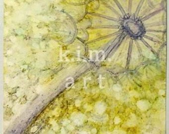 """sale 7""""x7"""" DANDELION PUFF original kimartist flower floral botanical horticultural garden seeds pods poof poofy gold yellow gray white sfa"""