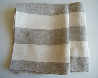 A Pair of Natural linen/ pure flax bath towels / sheets,  gray ecru and white stripes.