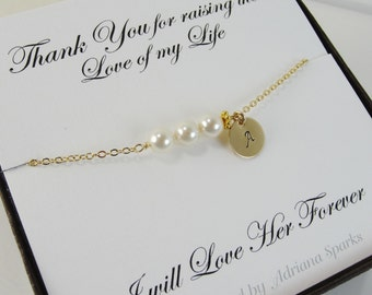 Mother of the Bride Personalized Bracelet with Thank You Card, mothers gifts, gifts for mother in law, bridal party jewelry, mother card,