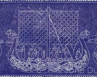 Vikings linocut relief print hand printed limited edition longships purple violet
